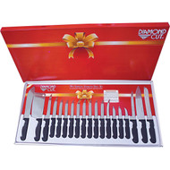 Wholesale lot of (8) Diamond Cut 19pc Cutlery Set in White/Red Bow Box