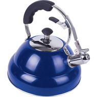Wholesale lot of (4) Chef's Secret 2.6 liter Gloss Blue Stainless Steel Tea Kettle with Copper Capsule Bottom