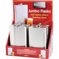 Wholesale lot of (3) Maxam 6pc 64oz Stainless Steel Flasks in Countertop Display