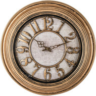 """Wholesale lot of (6) Brookwood 20"""" Antique Gold Round Wall Clock"""