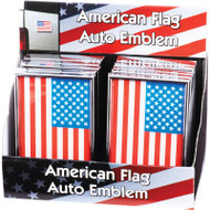 Wholesale lot of (20) American Flag Auto Emblem - 12pcs in Countertop Display