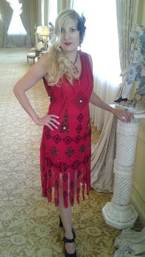 1920 S Style Great Gatsby Red Black Beaded Fler Dress M L