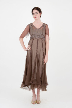 DOWNTON ABBEY-Nataya Silver Mist Embroidered VICTORIAN Dress-S or M