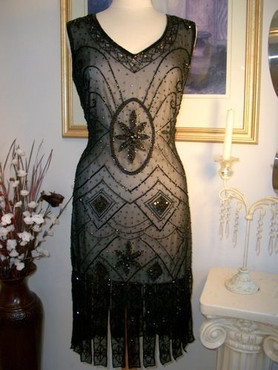 1920s Style GREAT GATSBY Black BEADED FLAPPER Dress-S,M,L,XL or Plus Sizes
