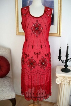 1920's GREAT GATSBY Red/Black BEADED Art Deco Dress-S to XL or Plus size