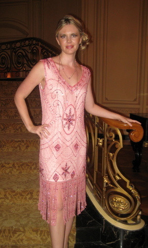 1920s Great Gatsby Dusty Pink Beaded Flapper Dress S M L Xl Or