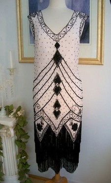 1920's Style GATSBY Blush/Black Beaded Fringe FLAPPER Dress-S, M, L, XL, or Plus
