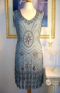 1920s GREAT GATSBY Silver/Grey BEADED FLAPPER Dress-S, M, L, XL or Plus Size