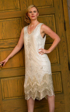 1920s Style SILVER Beaded Fringe FLAPPER DRESS- S,M,L,XL or PLUS SIZES