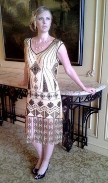 1920's Style GATSBY Nude/Bronze/Gold BEADED FLAPPER Dress-S,M,L, XL or Plus sizes