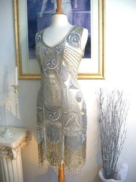 1920s Style GREAT GATSBY Silver Beaded Fringe FLAPPER Dress-S,M,L,XL or 2X