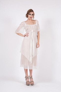 NATAYA 1920's Style Ivory ROMANTIC ROSE Chiffon Day Dress-S,M,L,or XL