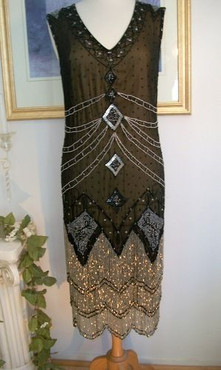 1920s Style Black Silver BEADED Fringe FLAPPER Dress-S,M,L,XL or Plus sizes
