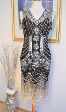 1920s Style GATSBY Black Silver Starlight BEADED Flapper Dress-S,M,L,XL or Plus Sizes