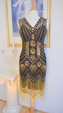 1920s Style GATSBY Black Gold Starlight BEADED Flapper Dress-S,M,L,XL or Plus