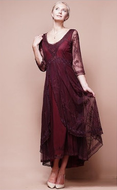NATAYA Downton Abbey Ruby Embroidered Dress-1X, 2X or 3X