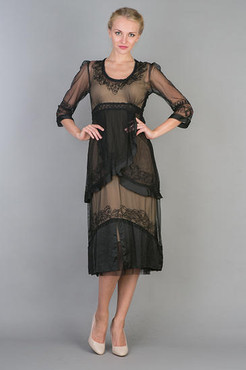 Nataya Black Beige Layered Empire Dress=-S, M, L, or XL