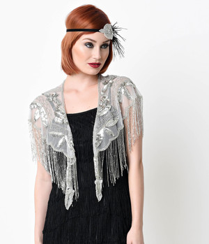 1920s Silver Beaded Mesh Caplet Wrap- one Size