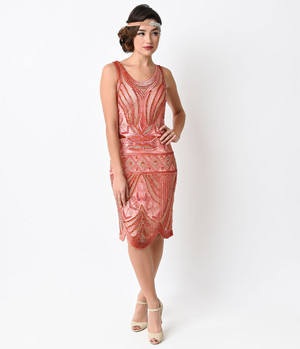 1920s Red Coral Art Deco Beaded Flapper Dress- S,M,L,XL or Plus Sizes