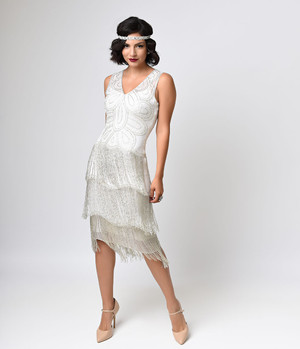 1920s Ivory Silver Fringe Flapper Dress- XS, S, M, L, XL or Plus sizes