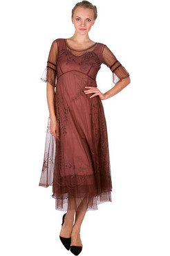 Nataya Copper Embroidered Mesh Dress- S, M, L, XL or Plus size