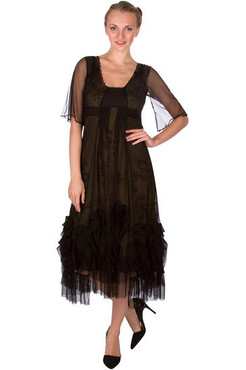 Nataya Black Embroidered Mesh Rose DRess- S, M, L, or XL