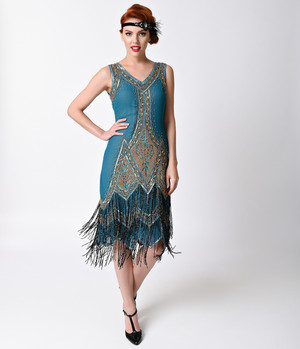 1920's Style Peacock Green Beaded  Flapper Dress- XS, S, M, L or XL