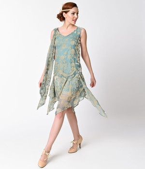 1920s Style Mint Burnout Velvet Mesh Dress- S, M, L or XL, 2X or 3X
