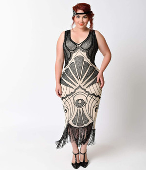 1920s Style Cream and Black ART DECO Beaded Fringe Flapper Dress-2X, 3X, 4X