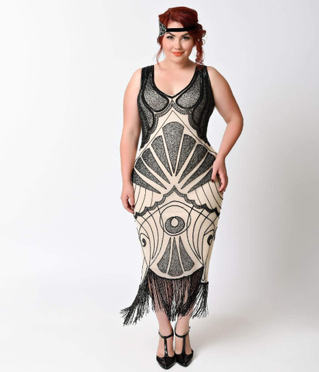 1920s Style Cream And Black Art Deco Beaded Fringe Flapper Dress 2x