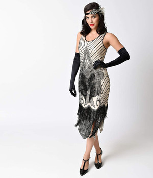 1920s Gatsby Ivory Black Beaded Fringe Flapper Dress- Xs, S, M, L, Xl or 2X