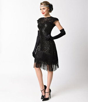 1920s Black Beaded Sequin Flapper Dress- 2X, 3X, or 4X