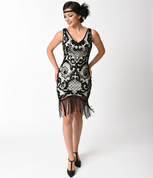1920s Cream Black  Sequin Flapper Dress- S, M, L or XL
