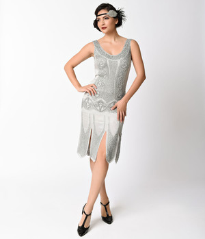 Ivory Silver Hollywood Glamour Satin Beaded Flapper Dress- XS, S, M, L, or XL