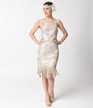 1920s Style Champagne Silver Carlton Flapper Dress- XS, S, M, L, or XL