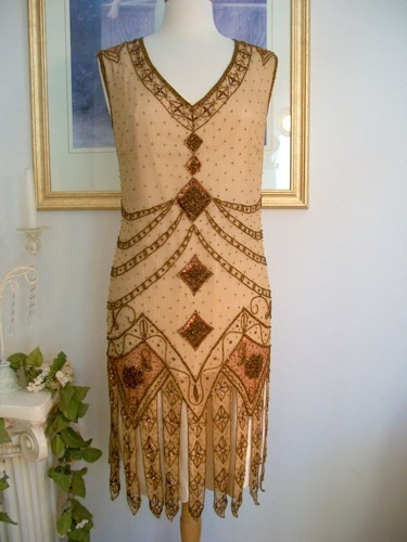 1920s Style Great Gatsby Copper Beaded Flapper Dress Smlxl Or