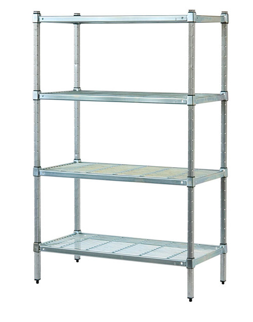 4 Tier Wire Shelving | 4 Tier 180 Cm High Stainless Post Wire Shelves 90 Cm L X 45 Cm W