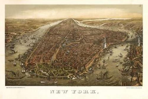 1874 NYC Map Poster Print by N. Harbick - Item # VARPDXHRB335