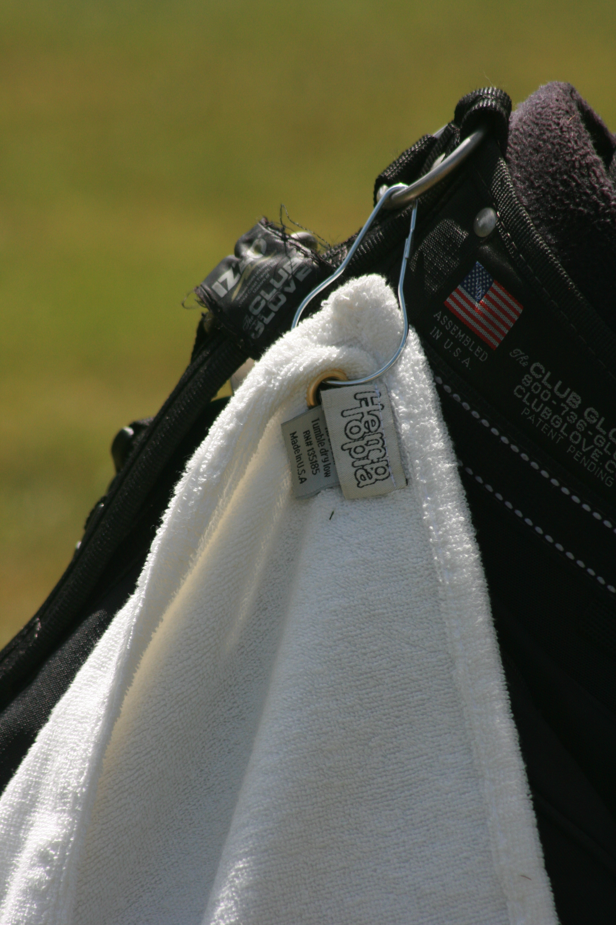 hemp golf towel closeup