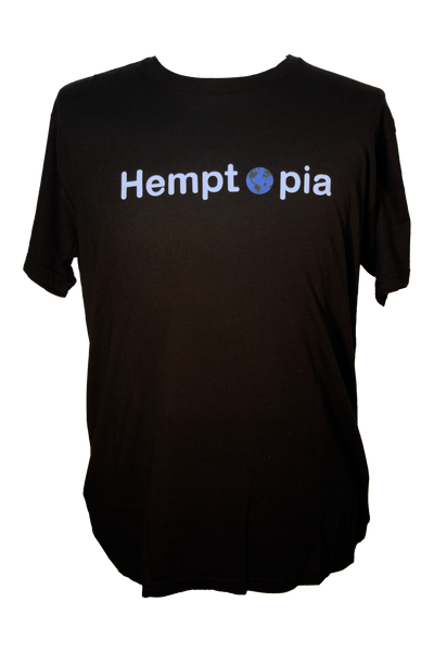 Hemptopia World Logo Hemp T-Shirt - Black