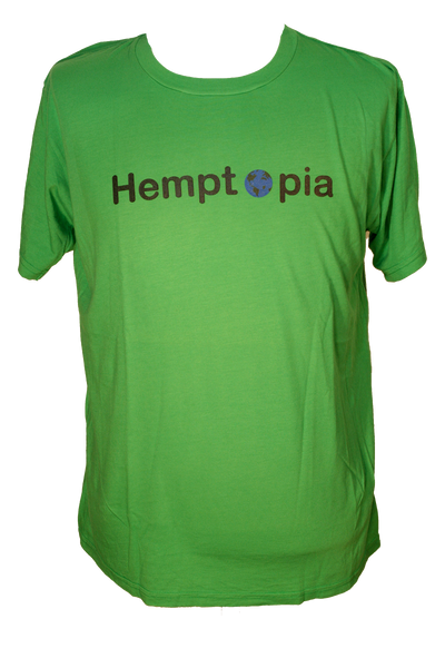 Hemptopia World Logo Hemp T-Shirt - Bright Green