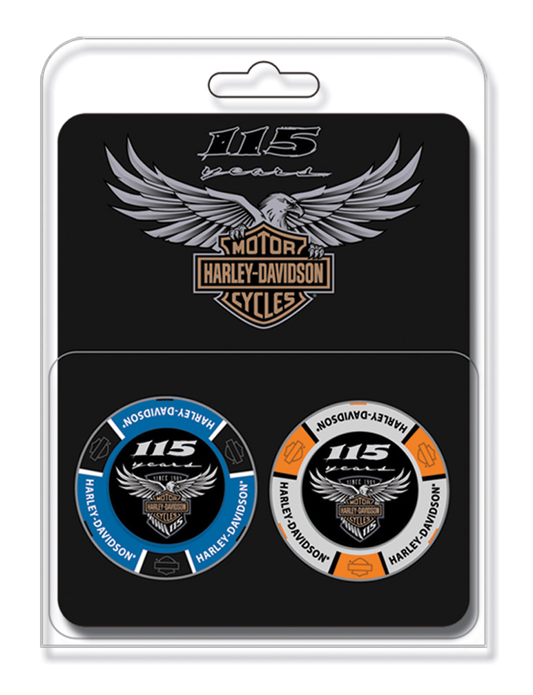 Harley-Davidson 115th Anniversary Collector's Poker Chip Packs, Blue & Gray.