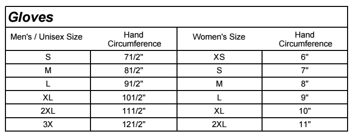 Harley-Davidson Glove Size Chart for Mens and Womens