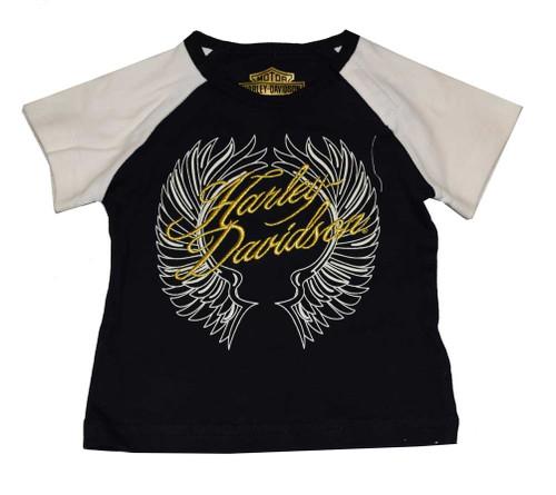 Harley-Davidson® Baby Girls' T-Shirt, Newborn Interlock Wings SS Tee 4301556 - A