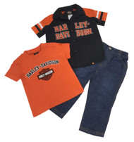 Harley-Davidson® Little Boys' Velvet H-D Denim Pant Set, 3 Piece Set Black 2070488 - C