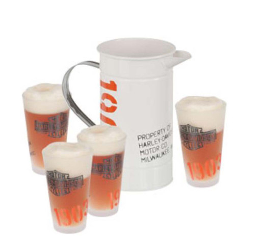 Harley-Davidson® 1903 Enamel Pitcher & Pint Glasses Set HDL-18741 - Wisconsin Harley-Davidson