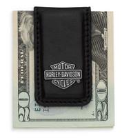 Harley-Davidson® Men's Bar & Shield Logo Money Clip, Black Leather 99452-06V