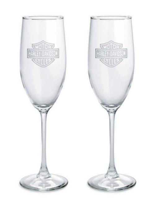 Harley-Davidson® Bar & Shield Etched Logo Champagne Glass, 8 oz. Set 2. 99206-14V