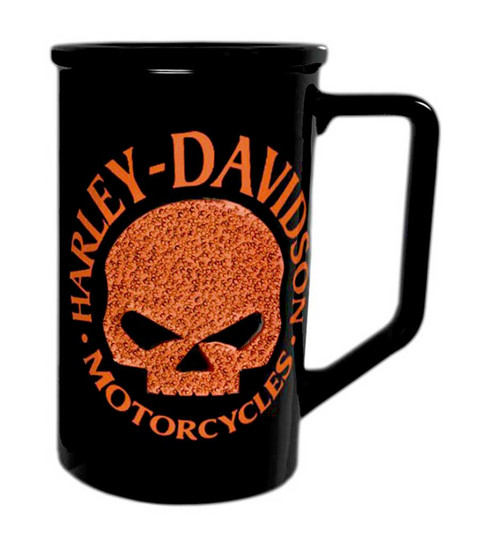 Harley-Davidson® Beaded Orange Willie G. Skull Logo Coffee Mug Black HD-HDO-1397