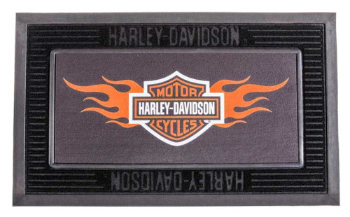 Harley-Davidson® Entry Floor Mat, Flame Bar & Shield Kitted Set, Black P14004901
